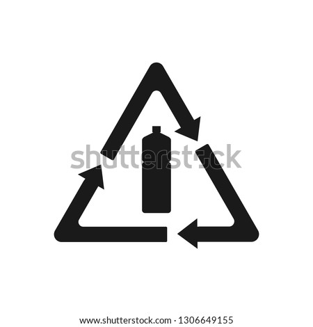 Recyclable plastic, Recycled bottle icon. Vector illustration, flat design.