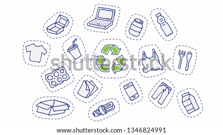 Recyclable things sticker set vector illustration. Clothes, energy-saving lamp, package box, cardboard, paper elements with recycle label hand drawn doodle concept. Goods for recycling (reuse) graphic