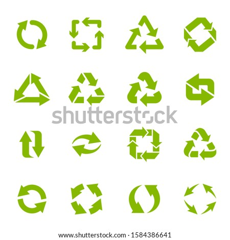Recycle arrows. Garbage circular, triangle and square recycling icons, eco protection elements and recycled eco sign vector isolated icons set. Waste disposal alternative. Sustainable resource use Foto stock ©