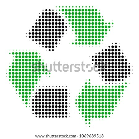 recycle arrows halftone vector