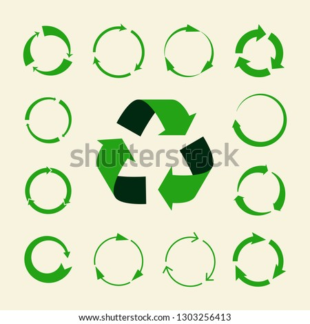 Recycle arrows vector set - ecology icons collection. Illustration of recycle arrow, reuse and recycling