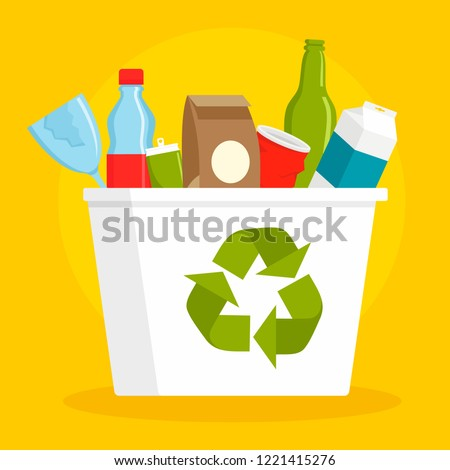 Recycle basket concept background. Flat illustration of recycle basket vector concept background for web design