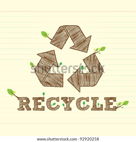 recycle bean with recycle symbol and word
