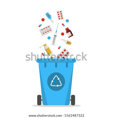 Recycle bin for the expired drugs vector isolated. Separate your garbage concept. Medicine material, rubbish falling in trash box.