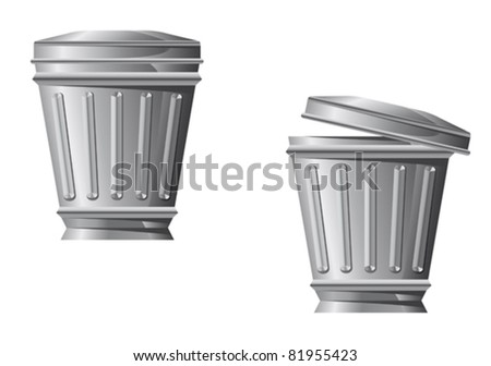 Recycle bin icon in two variations isolated on white background. Rasterized version also available in gallery