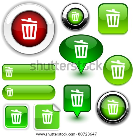 Recycle bin vector glossy icons.