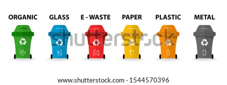 Recycle bins with recycle symbol. Different colored trash. Organic, batteries, metal, plastic, paper, glass, waste, light bulb, food. Recycling garbage separation collection and recycle. Recycle bin.