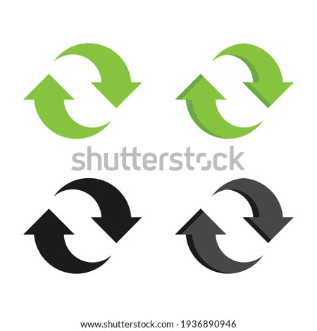 Recycle flat vector icon. Green and black recycle arrows Foto stock ©