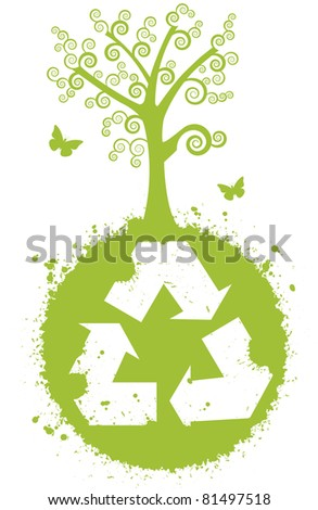 Recycle for a better nature. Globe with recycle symbol. It has a large and beautiful tree. It has butterflies.
