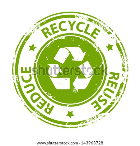 Recycle green emblem or symbol with text recycle reuse reduce rubber stamp icon isolated on white background. Vector