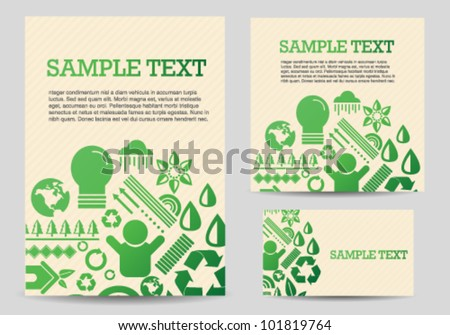 Recycle Green Icons Card Template Set