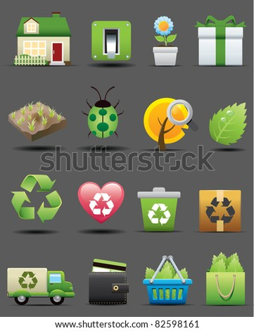 Recycle green icons set. ecology & nature image.