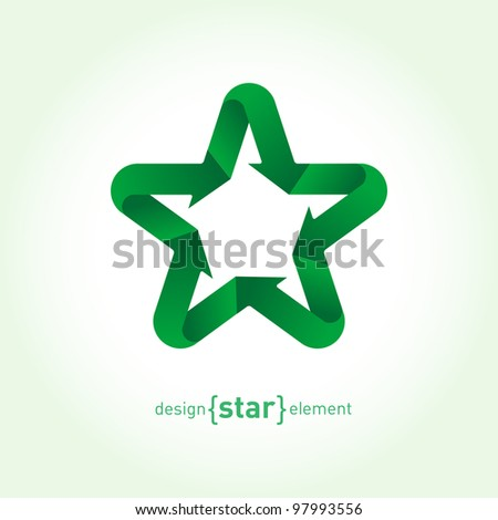 Recycle green Vector Star with arrows. Company Logo template