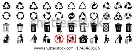 recycle icon and trash symbol, Recycling sign, Recycle symbol Isolated on white background. Vector illustration.