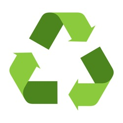 recycle icon, 3d style of recycled with green colors, useful for infographics and labels.