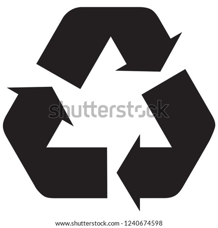 recycle icon in trendy flat style with black colors
