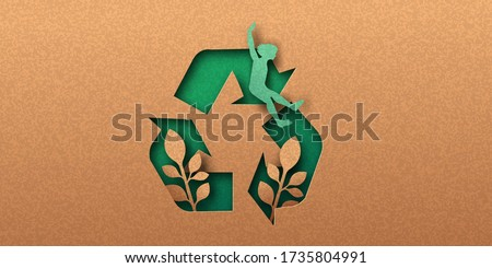 Recycle icon papercut banner with plant leaf and happy woman. Eco-friendly recycling symbol, Ecology project concept. 3d cutout in recycled paper background for social campaign.