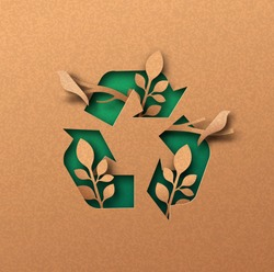 Recycle icon papercut illustration with plant leaf and bird animals. Eco-friendly recycling symbol, reuse waste cycle concept. 3d cutout in recycled paper background for ecology campaign.