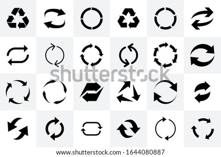 Recycle icon. Recycle arrow symbol. Recycling materials sign. Recycled logo, sign. Vector illustration