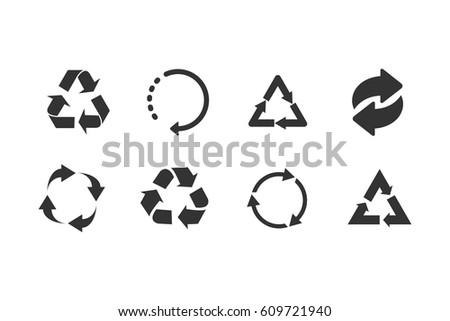 Recycle icon set black on white background