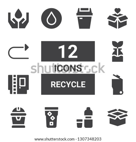 recycle icon set. Collection of 12 filled recycle icons included Package, Water, Garbage, Cartridge, Reuse, Redo, Ecology, Trash