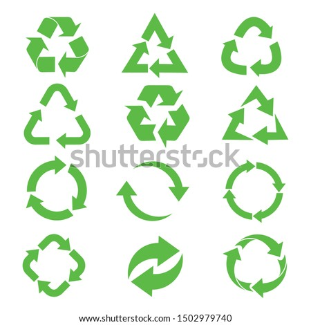 recycle icon set,  Recycle Recycling symbol. Vector illustration. Isolated on white background.