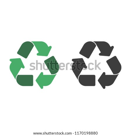 Recycle icon set. Recycling pictogram isolated on white background. Green and black recycle signs. Flat style. Circle arrow symbol. Vector illustration EPS 10.