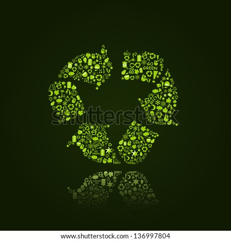 Recycle Icon Sign with Reflection on Dark Background. Go Green Eco Pattern Isolated. Ecology concept.
