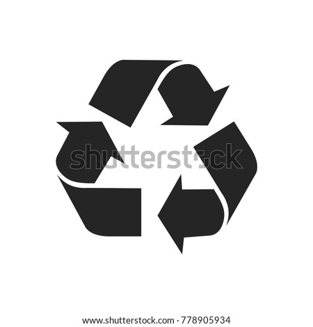 Recycle icon vector, environment symbol. Recycling pictogram, flat vector sign isolated on white background. Simple vector illustration for graphic and web design.