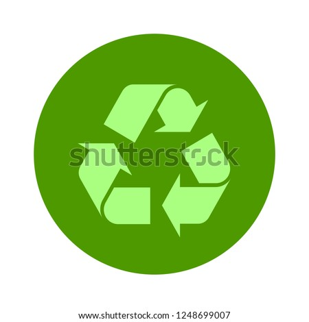 Recycle icon vector, flat style Recycle icon isolated on white background. Recycle icon image, Recycle icon illustration