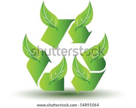 Recycle icon with leafs