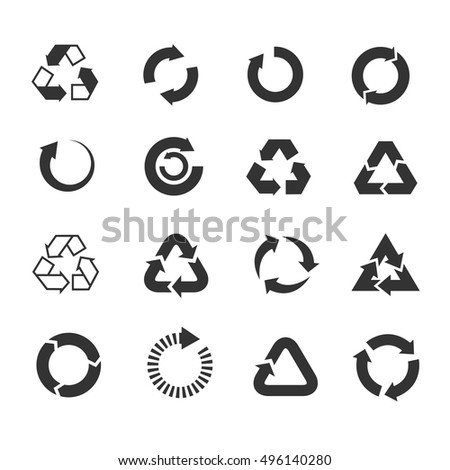 Recycle icons vector set. Triangle and round emblems for conservation and saving illustration