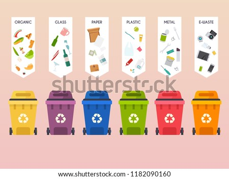 Recycle infographic. Waste types segregation recycling. Flat design modern vector illustration concept.