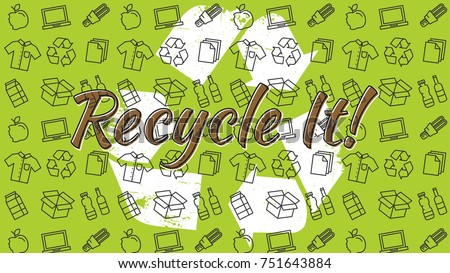 Recycle it vector illustration. Recyclable things (clothes, lamp, cardboard box, bottles, food, paper, packaging) line art pattern with recycle sign on the background. Recycle banner graphic design.
