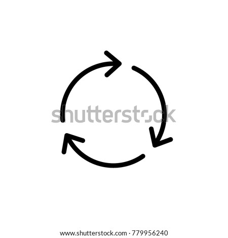 recycle line sign, 3 arrows rotation, icon vector illustration