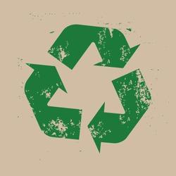 Recycle logo, grunge stamp