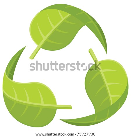 Recycle Logo made from leaves