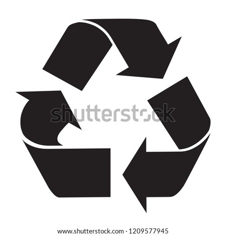 Recycle Logo symbol black and white flat icon isolated on white background. Vector illustration