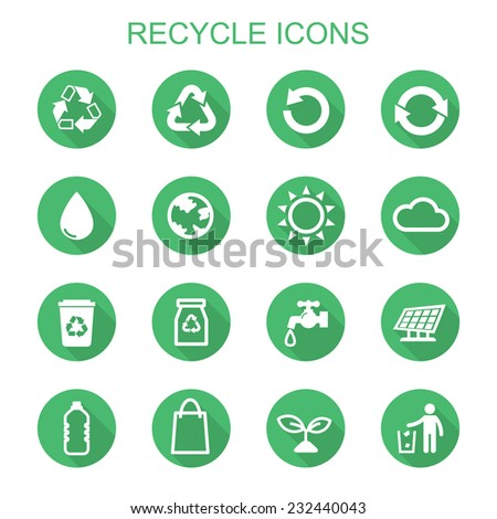 recycle long shadow icons flat vector symbols