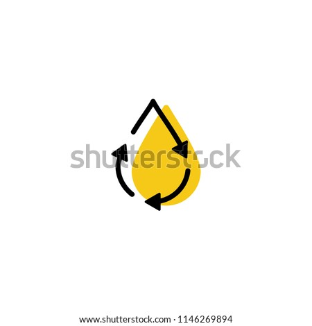 recycle oil drop fresh clean logo icon vector simple line outline monoline color fill style