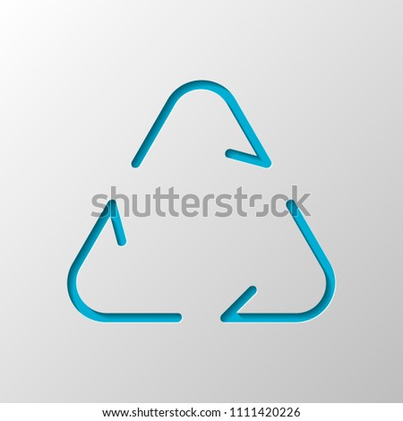 Recycle or reuse icon. Thin arrows, linear style. Paper design. Cutted symbol with shadow