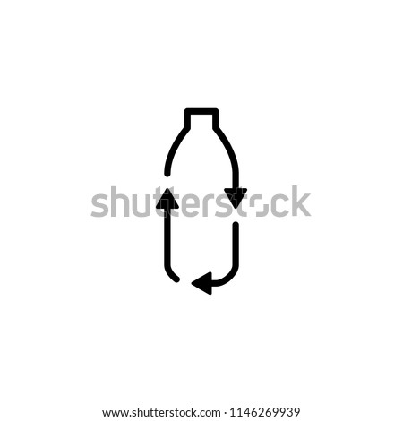 recycle plastic bottle logo icon vector line outline monoline