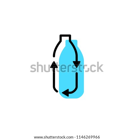 recycle plastic bottle logo icon vector line outline monoline color fill style