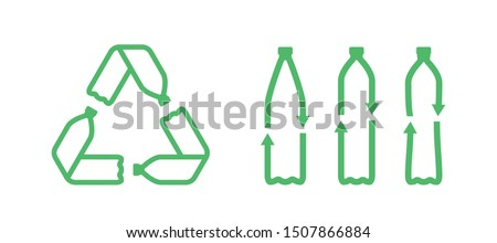 Recycle plastic bottle. Pet plastic bottles form mobius loop or recycling symbol with arrows. Eco pet use concept. Recycle icon. Set of recycling icons. Vector illustration