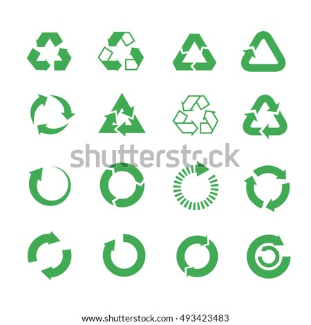 Recycle, raw materials vector icons set. Eco cycle nature illustration