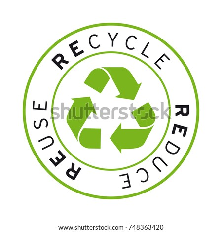 Recycle Reduce Reuse logo vector sticker green
