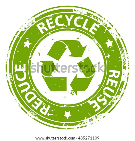 Recycle  Reuse Reduce green emblem or symbol rubber stamp icon isolated on white background. Vector illustration