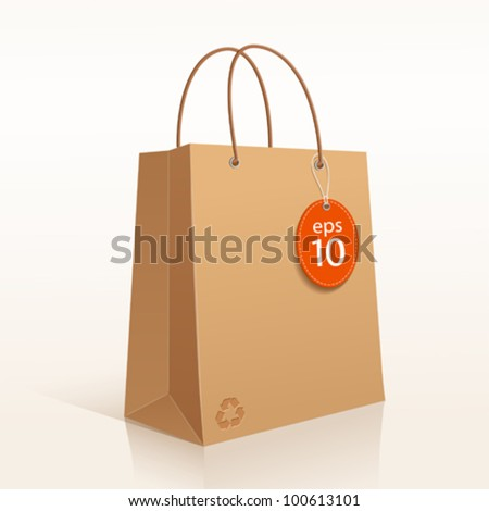 Recycle shopping brown bag. vector illustration