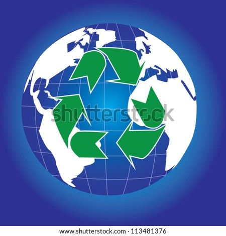 Recycle Sign Around The Earth For Save The Earth Concept