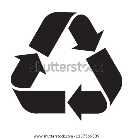 recycle sign isolated on white background. recycling arrows flat icon.